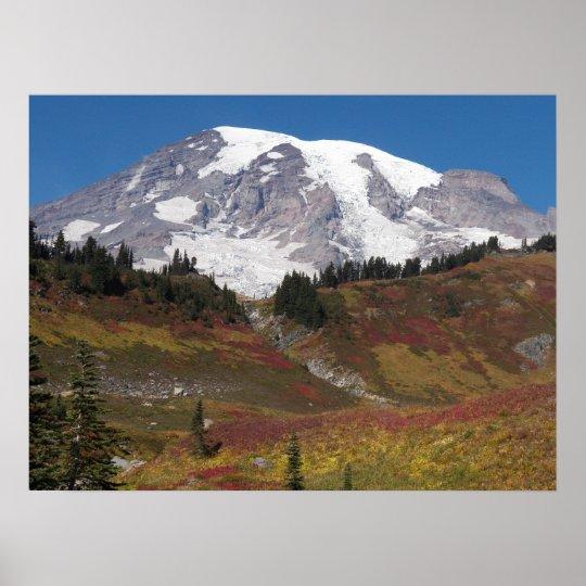Mount Rainier Autumn Colours Poster