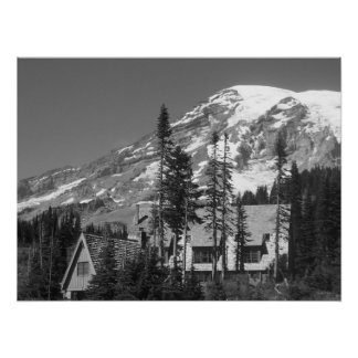 Mount Rainier Black and White Poster