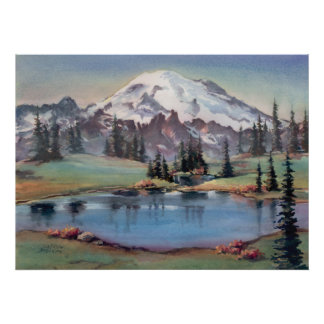 MOUNT RAINIER by SHARON SHARPE Poster