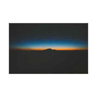Mount Rainier in Silhouette at Sunset Under Stars Canvas Print