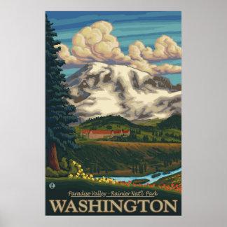 Mount Rainier - Paradise Inn Lodge - Travel Poster