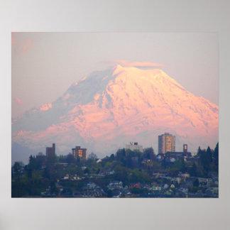 Mount Rainier Sunset Landscape Poster