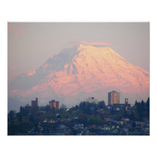 Mount Rainier Sunset Poster