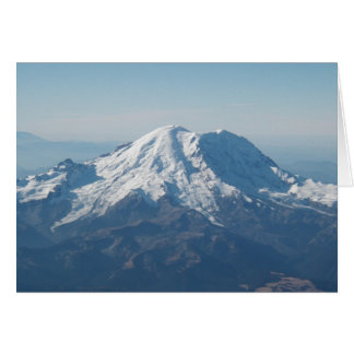 Mount Rainier with snow from air Card