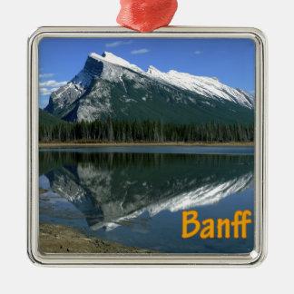 Mount Rundle Alberta Canada Silver-Colored Square Ornament