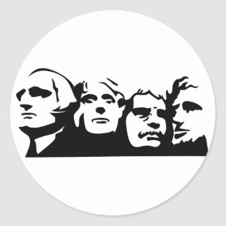 Mount Rushmore Outline Round Sticker