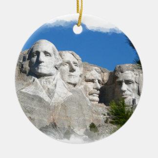 Mount Rushmore Round Ceramic Ornament