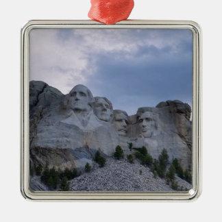 Mount Rushmore Silver-Colored Square Ornament