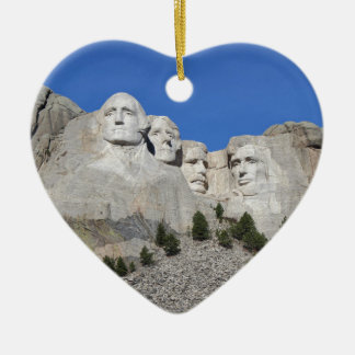 Mount Rushmore South Dakota Presidents USA America Ceramic Heart Ornament