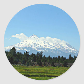 Mount Shasta California Mountain Landscape Nature Classic Round Sticker