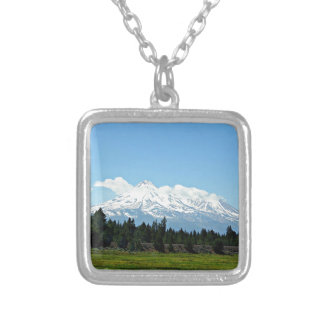 Mount Shasta California Mountain Landscape Nature Silver Plated Necklace