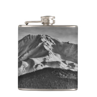 MOUNT SHASTA IN BLACK AND WHITE FLASK