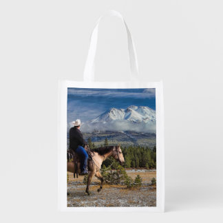 MOUNT SHASTA WITH HORSE AND RIDER REUSABLE GROCERY BAG