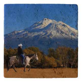 MOUNT SHASTA WITH HORSE AND RIDER TRIVET
