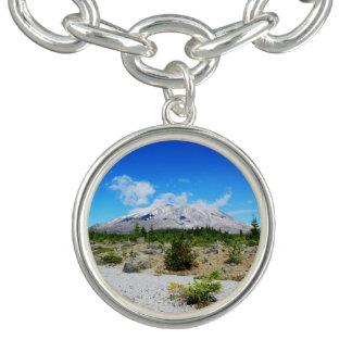 Mount St. Helen, volcano,  blue sky Charm Bracelet