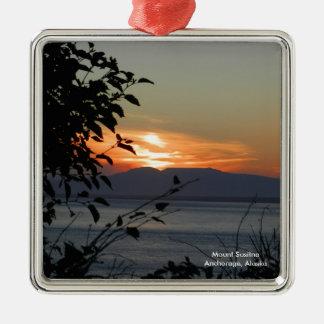 Mount Susitna Alaska / Silver-Colored Square Ornament