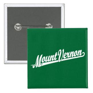Mount Vernon script logo in white 2 Inch Square Button