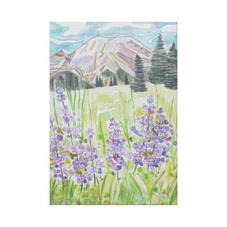 Mountain Abstract with Lavender Flowers Canvas Print