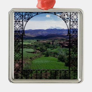 Mountain balcony scenic view Silver-Colored square ornament