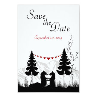 "Mountain Bears Save the Date Wedding Announcement 3.5"" X 5"" Invitation Card"