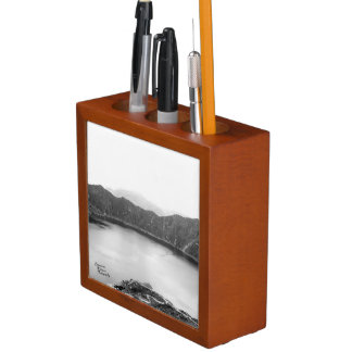 Mountain Beauty BW & Big Orange Leaf Desk Org. Desk Organizer