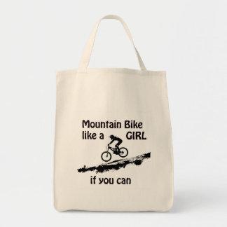 Mountain bike like a girl tote bag