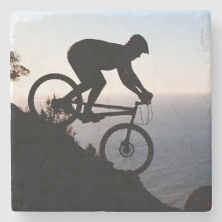 Mountain Bike Rider. Lions Head, Cape Town Stone Coaster
