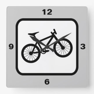 Mountain Bike Sports Theme Square Wall Clock