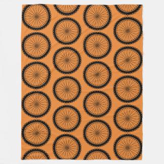 Mountain Bike Wheel - Black on Orange Fleece Blanket