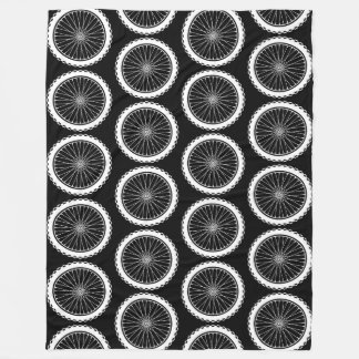 Mountain Bike Wheel - White on Black Fleece Blanket