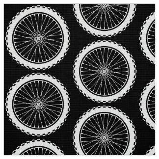 Mountain Bike Wheel - White on Dark Fabric