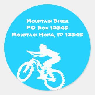 Mountain Biker Art Classic Round Sticker