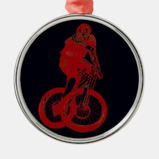 Mountain Biker MTB BMX CYCLIST Silver-Colored Round Ornament