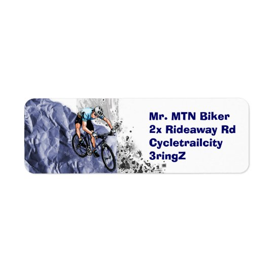 Mountain biker return address label