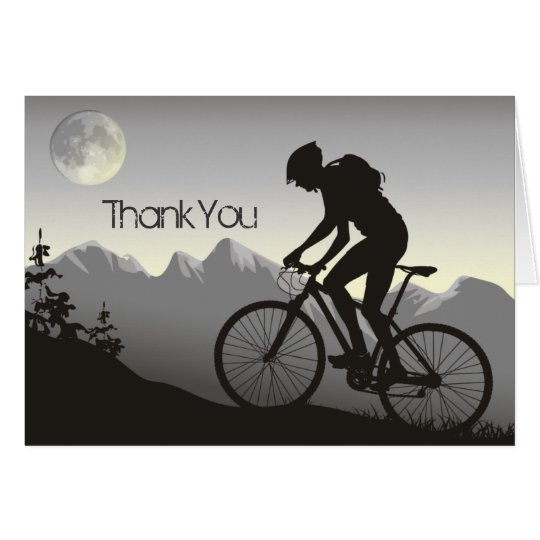 Mountain Biker with Mountains and Moon Thank You Card