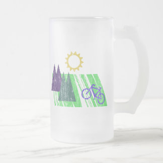 Mountain Biking Abstract 16 Oz Frosted Glass Beer Mug