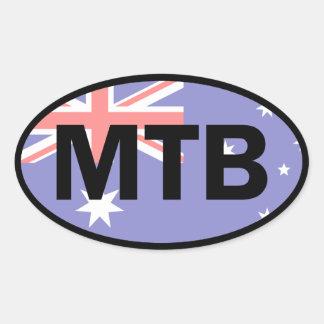Mountain Biking Australia Flag Oval Sticker