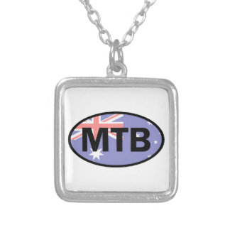 Mountain Biking Australia Flag Silver Plated Necklace