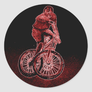 Mountain Biking Classic Round Sticker