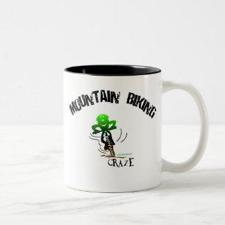 MOUNTAIN BIKING CRAZE Two-Tone COFFEE MUG