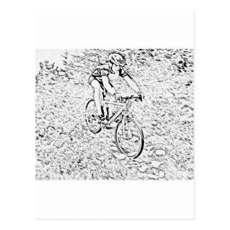 Mountain biking postcard