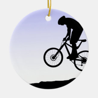 Mountain Biking Round Ceramic Ornament