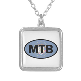 Mountain Biking Utah Flag Silver Plated Necklace