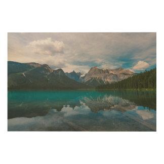 Mountain blue lake wood print