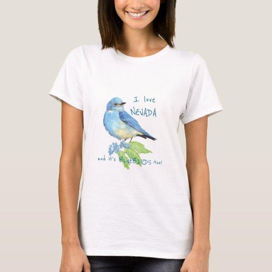 Mountain Bluebird Love Nevada State Bird Art T-Shirt