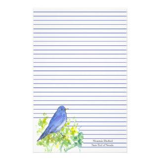 Mountain Bluebird State Bird of Nevada Blue Lined Stationery
