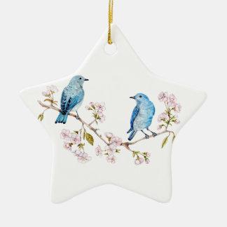 Mountain Bluebirds on Sakura Branch Ceramic Ornament