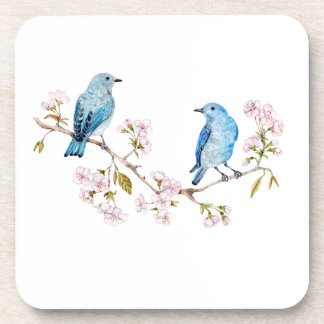Mountain Bluebirds on Sakura Branch Coaster