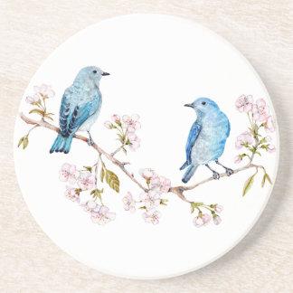 Mountain Bluebirds on Sakura Branch Drink Coaster
