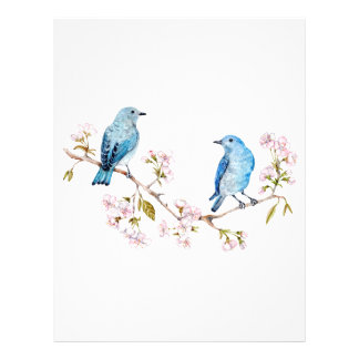 Mountain Bluebirds on Sakura Branch Letterhead